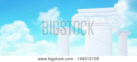 Picture of large greek freestone columns. 3D illustration