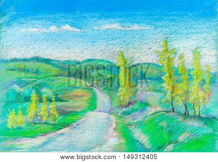 Rural road between hills and forest summer