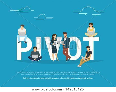 Project pivot concept illustration of business people working together as team. Business colleagues working on laptops for a new pivot. Flat design for for website banner and landing page