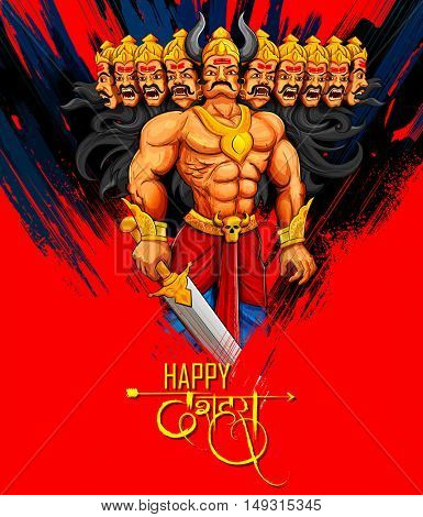 llustration of Raavana with ten heads for Dussehra Navratri festival of India poster with hindi text meaning Dussehra