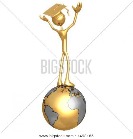 Golden Grad On Top Of The World Graduation Concept