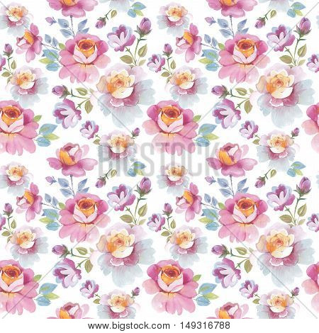 Wildflower rose flower pattern in a watercolor style isolated. Full name of the plant: rose, hulthemia, rosa. Aquarelle flower could be used for background, texture, pattern, frame or border.