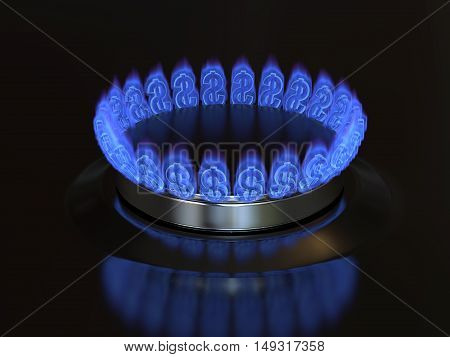 Gas with a dollar sign burns from the kitchen stove. Cost of gas gaz price concept 3d illustration.