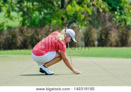 CHONBURI - FEBRUARY 28 : Austin Ernst of USA in Honda LPGA Thailand 2016 at Siam Country Club Pattaya Old Course on February 28 2016 in Chonburi Thailand.