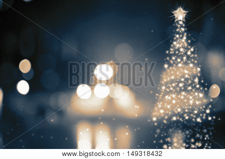 Shinny Christmas Tree with abstract bokeh lights background