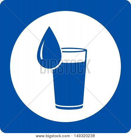 Icon With Water Drop And Glass
