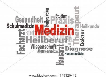 Medizin Arzt Wissenschaft (in German Medicine Doctor Science) Word Cloud Concept