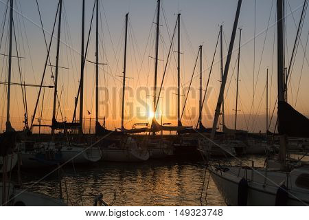 Sailing Boat's Masts: Dock Seaside at Sunset