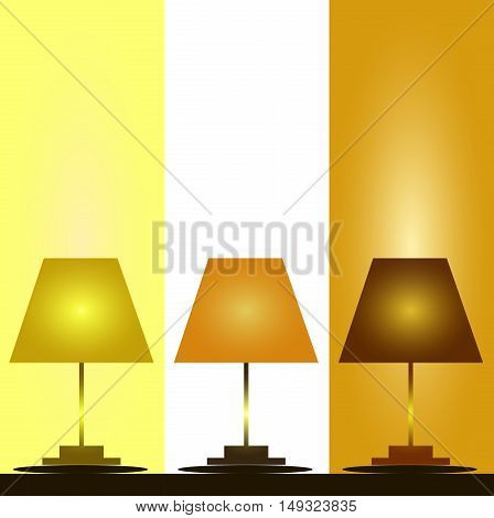 Three colored lamp floor lamps floor lamp on a stand