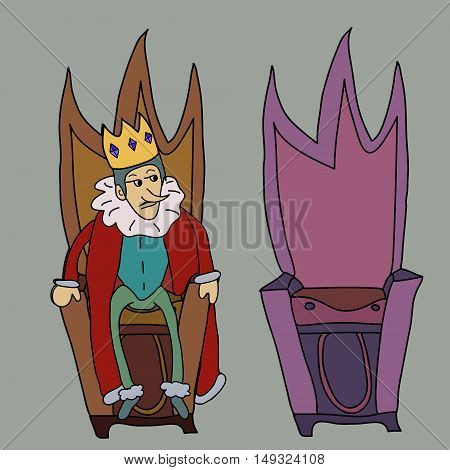 King on throne vector illustration story symbol