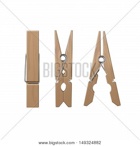 VectorSet of  Wooden Clothespins Pegs Front Side View Close up Isolated on White Background