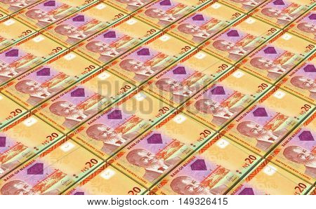Namibian dollars bills stacks background. 3D illustration.