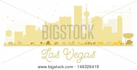 Las Vegas City skyline golden silhouette. Vector illustration. Simple flat concept for tourism presentation, banner, placard or web site. Business travel concept. Cityscape with landmarks