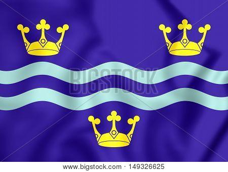 Flag of Cambridgeshire England. 3D Illustration. Close Up.