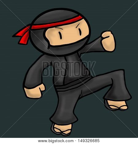 Ninja asia cartoon danger character vector illustration
