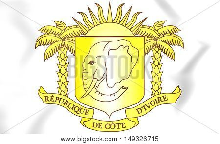 Cote D'ivoire Coat Of Arms. 3D Illustration.