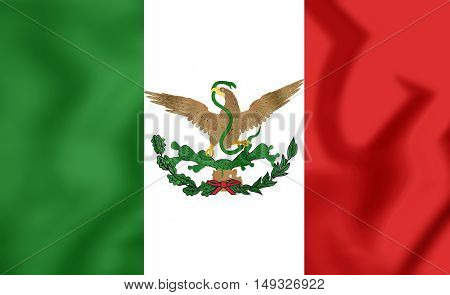 Flag of Mexico (1893-1916). 3D Illustration. Close Up.