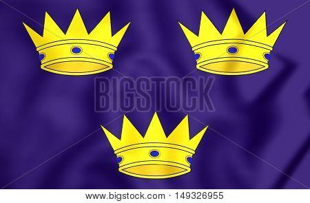 Flag Of Munster Province, Ireland. 3D Illustration.