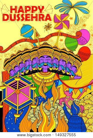 illustration of Ravan Dahan for Dusshera celebration for Navratri festival of India