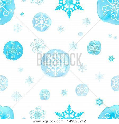 Seamless Pattern With Watercolor Christmas Snowflakes