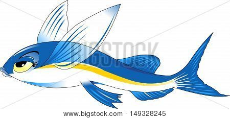 high quality flying fish cartoon character include flat design