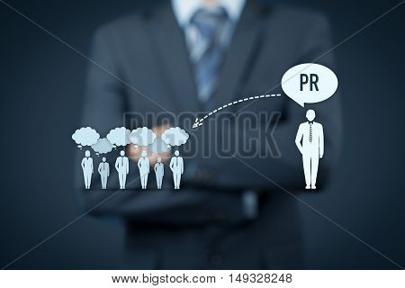 Public relations (PR) concept. Businessman supervise PR services (public relations) and its impact to public.