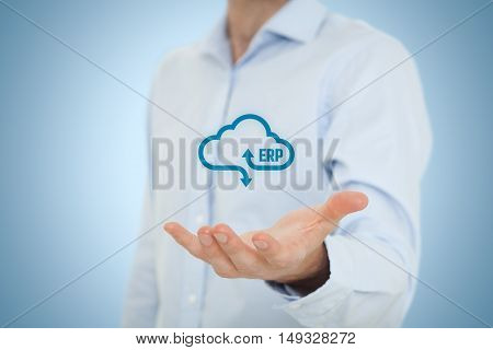 Enterprise resource planning (ERP) as cloud service concept.