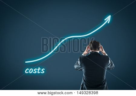 Growing costs concept - financial manager is frustrated by growing costs.