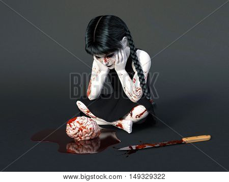 3D rendering of an evil gothic looking blood covered small girl sitting on the floor with a brain in a puddle of blood in front of her. Dark gray background.