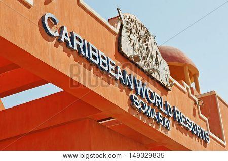 Hurghada, Egypt -20 August 2016: Luxury Resort Caribbean World Soma Bay