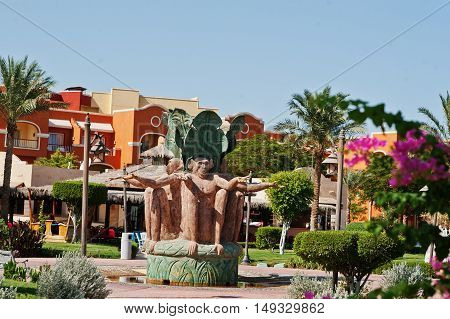 Hurghada, Egypt -20 August 2016: Monument Of Three Monkeys  In Luxury Hotel Resort Caribbean World S