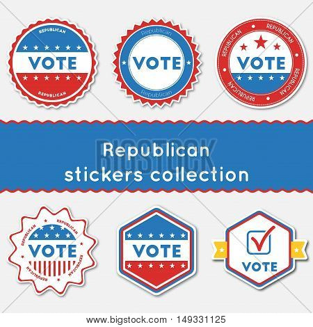 Republican Stickers Collection. Buttons Set For Usa Presidential Elections 2016. Collection Of Blue