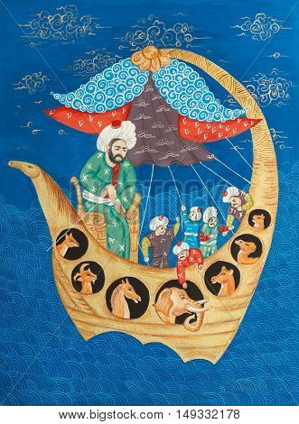 Copy of the old Turkish (ottoman) miniatures of the medieval century Noah's Ark. Gouache colors, cardboard