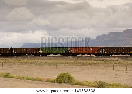 Moab Utah USA - June 6 2015: Rusted cars stationed on the tracks. The Union Pacific Railroad is an American freight railroad company headquartered in Omaha NE.