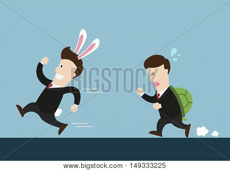 rabbit businessman and turtle one are in running competition. Rabbit got the first rank. Turtle got the second rank. business competition.