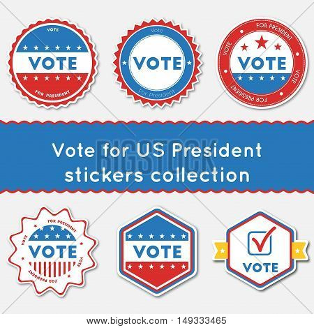 Vote For Us President Stickers Collection. Buttons Set For Usa Presidential Elections 2016. Collecti