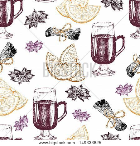 Vector seamless pattern of mulled wine ingredients. Hand drawn vintage elements. Glass orange cinnamon anise. Good for season restaurant menu design store holiday package