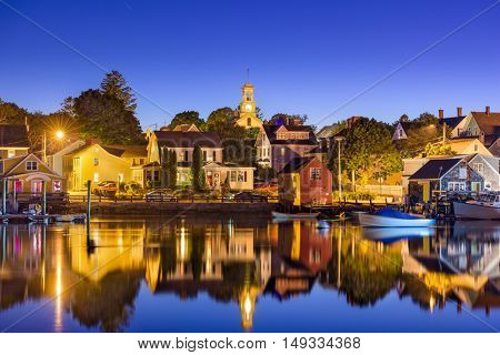 Portsmouth, New Hampshire, USA cove and townscape.