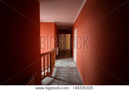 Modern hallway in house interior angle shot