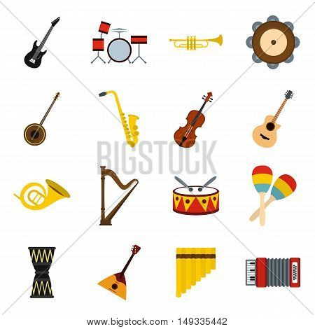 Musical instruments icons set in flat style. Orchestra instruments set collection vector illustration