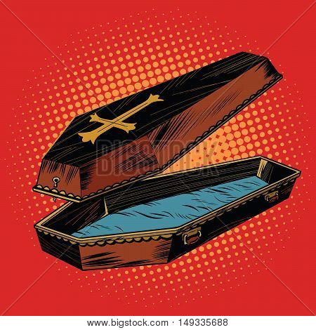 wooden coffin with Christian cross, pop art retro vector illustration. The coffin lid is open