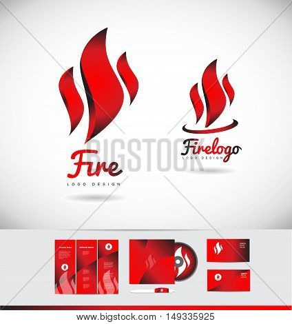 Fire flame shape vector logo icon design corporate identity set cd brochure business card red