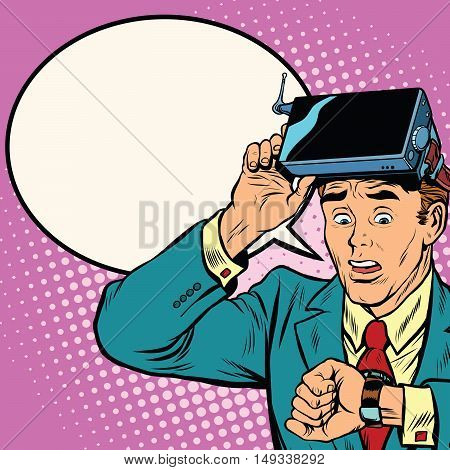 Too much time in virtual reality, pop art retro vector illustration. The man took off virtual reality glasses to look at watch