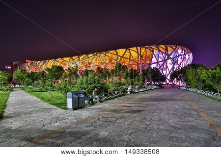 BEIJING - CHINA, MAY 2016: Beijing National Stadium, also known as the Bird's Nest, at night on May 16, 2016 in Beijing, China.