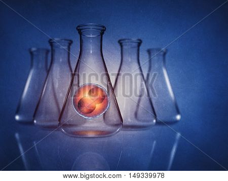 Two-cell embryo in laboratory flask on blue background , In vitro  fertlisation , Stem cell therapy , 3d illustration