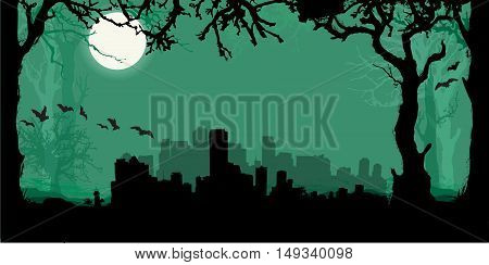 Black vector Miami Silhouette Skyline with scary forest background