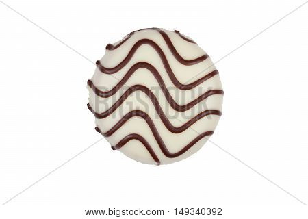 cookie with white chocolate frosting isolated on white background