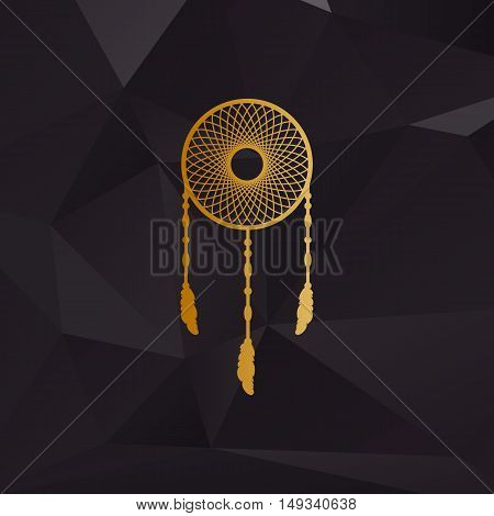 Dream Catcher Sign. Golden Style On Background With Polygons.