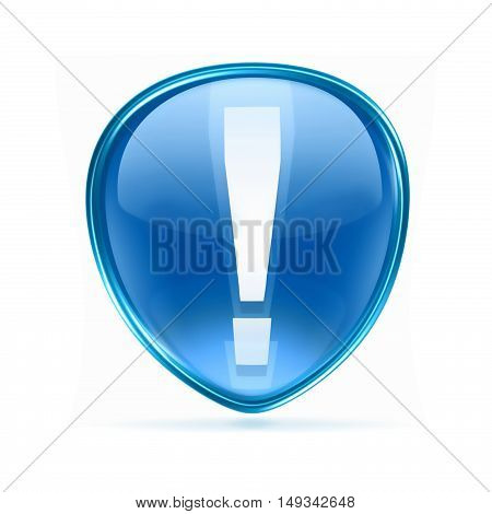 Exclamation Symbol Icon Blue, Isolated On White Background