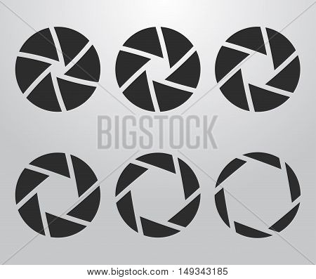 Selection of the camera aperture icons. Vector